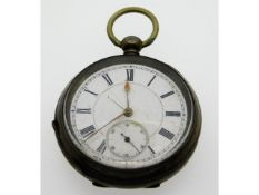 An antique silver key wind pocket watch, 53mm diam