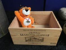 A wine box twinned with a 1988 Seoul Olympic bear
