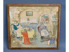 """A vintage Margaret Ross print titled """"Bedtime"""", fr"""