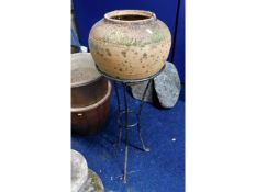 A terracotta pot 14in diameter mounted on stand 41