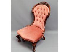 A Victorian upholstered walnut nursing chair, 35.5