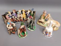 Four Will Young figure groups, largest 10.25in wid