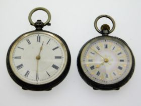 Two ladies silver pocket watches, largest 38.75mm