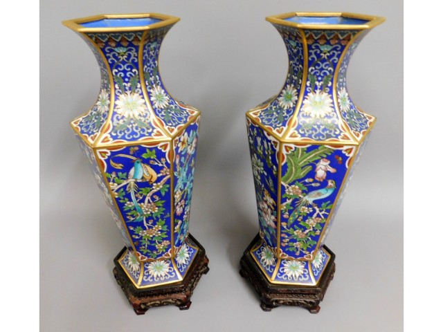 A pair of Chinese enamelled cloisonne vases of hex