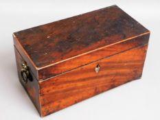 A Georgian mahogany tea caddy, brass handles & cov