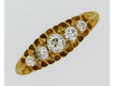 An Edwardian 18ct Chester gold ring set with five
