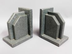 A pair of art deco Cornish polished stone bookends