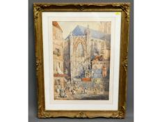 A detailed French street scene watercolour in swep