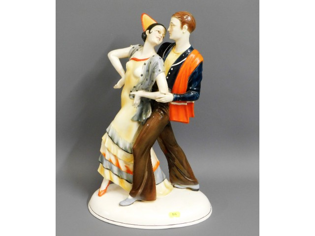 A large c.1920's art deco Katzhutte porcelain figu