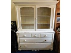 A 19thC. pitch pine painted kitchen dresser with g