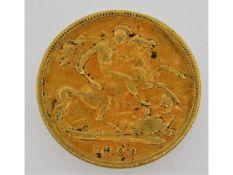 A 1900 Victorian half gold sovereign, 3.9g
