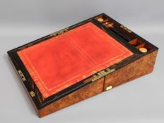 A 19thC. walnut & coromandel wood writing slope with brass internal fittings & inlaid with ornate wh
