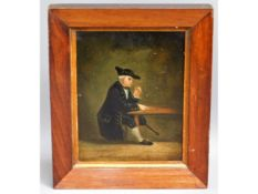 A c.1800 rosewood framed oil on panel, inscribed t