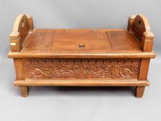 A modern ethnic style hardwood storage seat, 29in