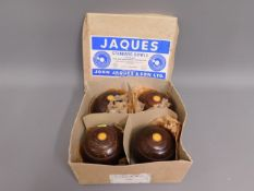 A boxed set of four Jacques bowling bowls
