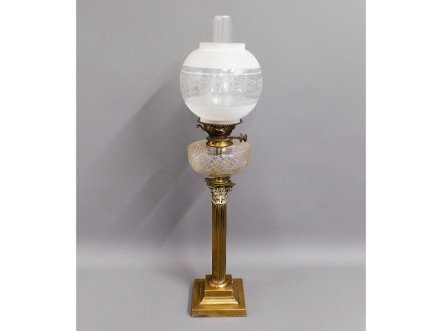 A brass Victorian oil lamp with Messenger burner,