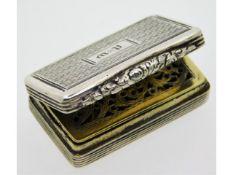 A George IV 1828 Birmingham silver vinaigrette by