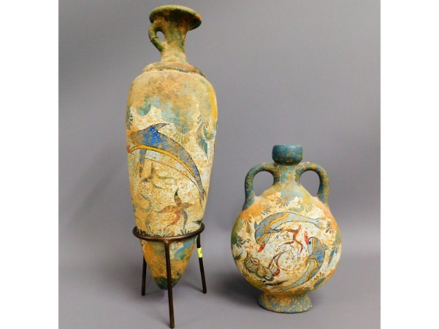 Two hand painted earthenware burial pots, possibly Greek, bottle type urn 13in long, two handled vas