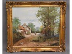 A rural landscape painting signed P. Miller set in