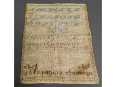 An early Victorian sampler by Susan Carter, 8yrs o