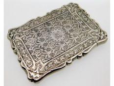 An 1870 Victorian Birmingham silver card case, 100