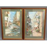 A pair of later framed Maria Gianni watercolours b