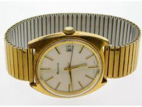 A gents Bulova wrist watch with expanding strap