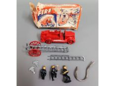 A vintage scale model Charbens fire engine & accessories with box
