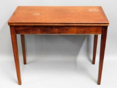 An ex-MOD mahogany card table, 36in square x 28.87