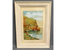 """A naïve style 1930's painting depicting Clovelly harbour scene, unsigned, label to verso signed """"Bro"""