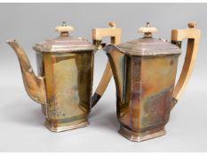 An art deco silver coffee & water pot by A E Posto