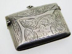 An Edwardian 1902 Birmingham silver vesta case by