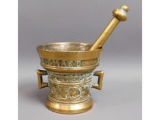 "A ""Richard Startyn 1623"" bronze pestle and mortar"