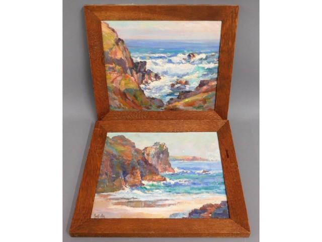 A pair of oak framed Newlyn School Garstin Cox sig