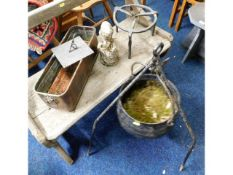 An iron cauldron & stand, 32in high, twinned with