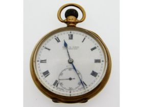 A Diss & Sons Dewsbury 9ct gold top wind antique pocket watch, rubbed monogram to verso, runs when w