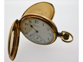 A Waltham 9ct gold top wind antique full hunter po