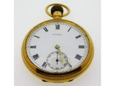 A Trojan 18ct gold top wind antique pocket watch 93.7g, 50mm wide, runs when wound