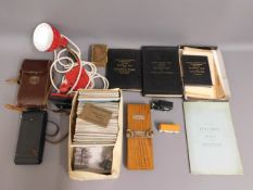 A quantity of railway related items, a clip on adj