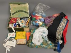 A quantity of thread, sewing items, ladies scarves