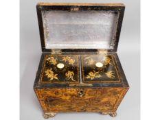 A c.1810 Regency period Chinoserie tea caddy, 7.5in wide x 6.25in high x 4.5in deep