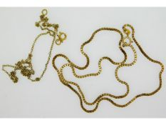 A 9ct gold box chain, 17.5in long & one other 9ct