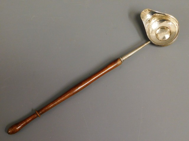 An 18/19thC. hardwood & white metal toddy, tests a