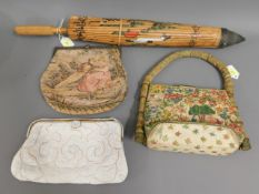 Three ladies evening bags twinned with a vintage O