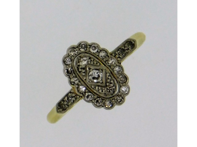 A ladies art deco period 18ct gold ring with plati