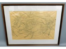 A large framed pencil study of deer by C. F. Tunni