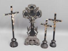Four Catholic religious crucifixes, tallest 14in h