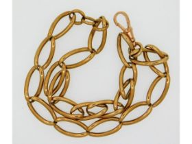 A 19thC. 9ct gold Albert, links quite worn at cont