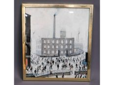 A 1960's framed print by L. S. Lowry, 19.75in x 17
