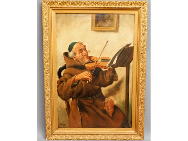 An antique gilt framed oil on canvas depicting man